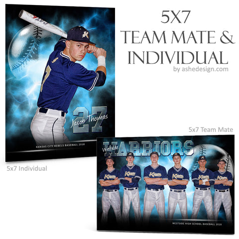 Ashe Design 5x7 Team Mate & Individual - Electric Explosion Baseball