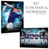 Ashe Design 5x7 Team Mate and Individual -  Electric Explosion Baseball