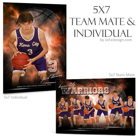 Ashe Design 5x7 Team Mate & Individual - Electric Explosion - Basketball