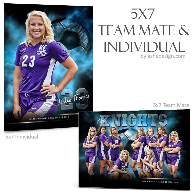 Ashe Design 5x7 Team Mate & Individual - Electric Explosion Soccer