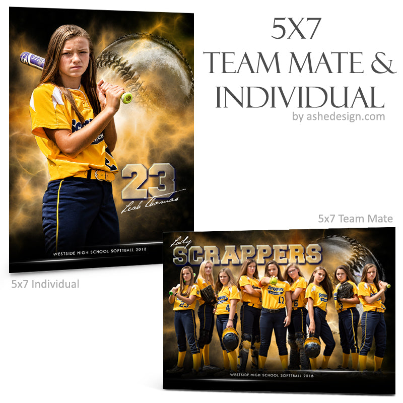 Ashe Design 5x7 Team Mate & Individual - Electric Explosion - Softball