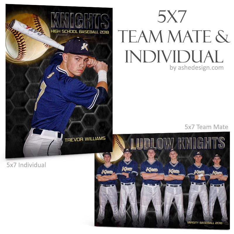 Ashe Design 5x7 Team Mate & Individual - Honeycomb Baseball