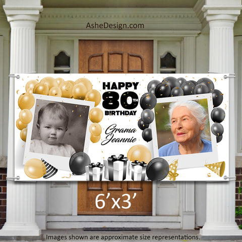 Photo Banner 6'x3' - Black Gold Balloon Birthday