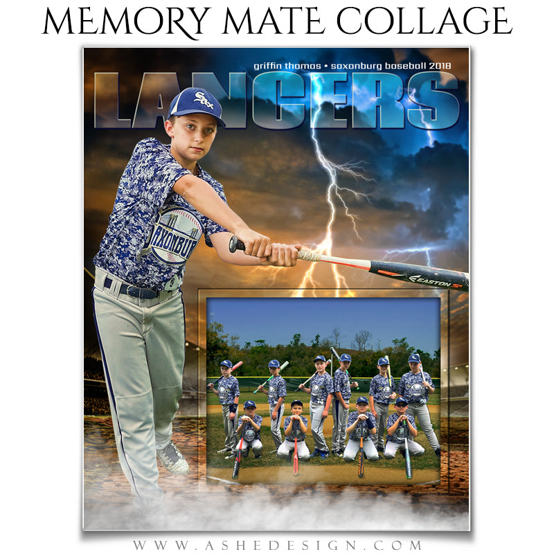 Ashe Design 8x10 Sports Memory Mates - Breaking Ground Baseball VT