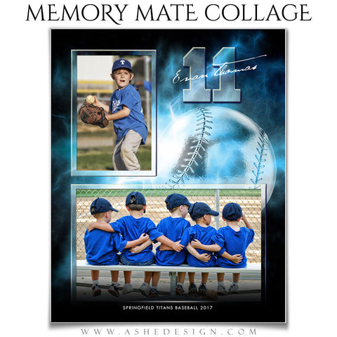 Ashe Design 8x10 Sports Memory Mate Electric Explosion Baseball VT