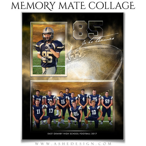 Ashe Design 8x10 Sports Memory Mate Electric Explosion Football VT
