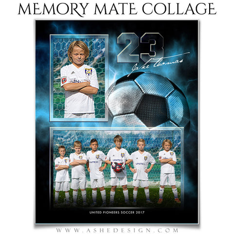 Ashe Design 8x10 Sports Memory Mate Electric Explosion Soccer VT