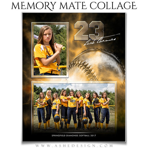 Ashe Design 8x10 Sports Memory Mate Electric Explosion Softball VT