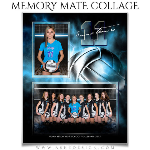 Ashe Design 8x10 Sports Memory Mate Electric Explosion Volleyball VT