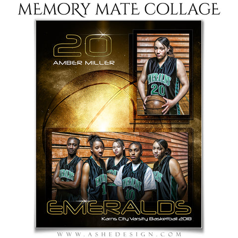 Ashe Design 8x10 Sports Memory Mates - Golden Burst Basketball VT