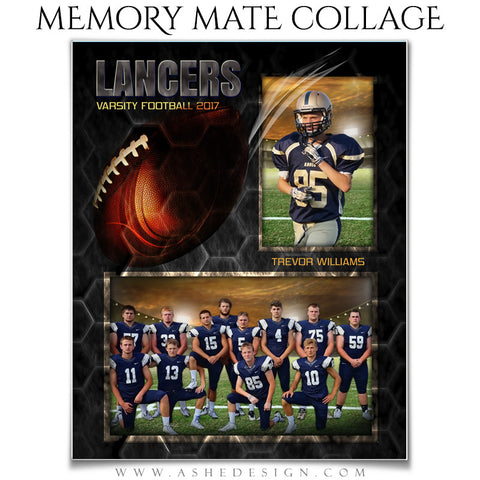 Ashe Design 8x10 Sports Memory Mate - Honeycomb Football VT