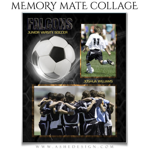 Ashe Design 8x10 Sports Memory Mate Honeycomb Soccer VT