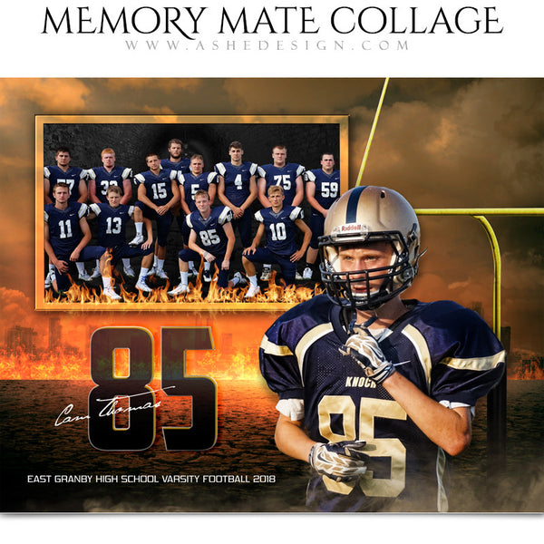 Ashe Design 8x10 Sports Memory Mate Inferno Football HZ
