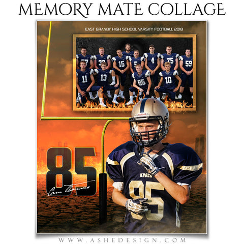 Ashe Design 8x10 Sports Memory Mate Inferno Football VT