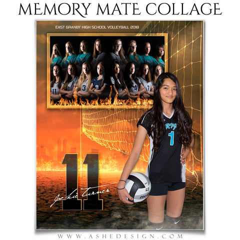 Ashe Design 8x10 Sports Memory Mate Inferno Volleyball VT