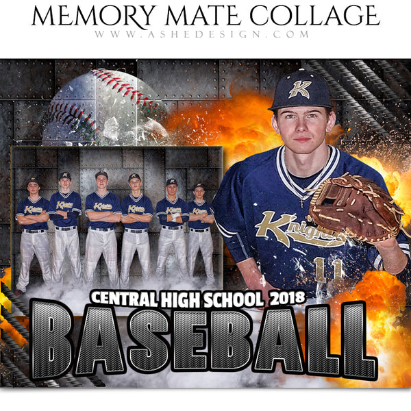 Ashe Design 8x10 Sports Memory Mates - Molten Baseball HZ