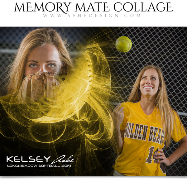 Ashe Design | Sports Memory Mates | Photoshop Templates | 8x10 | Mystic Explosion | Softball | Horizontal