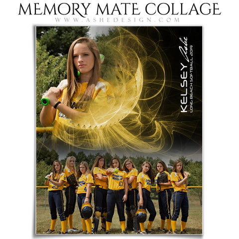 Ashe Design | Sports Memory Mates | Photoshop Templates | 8x10 | Mystic Explosion | Softball | Vertical