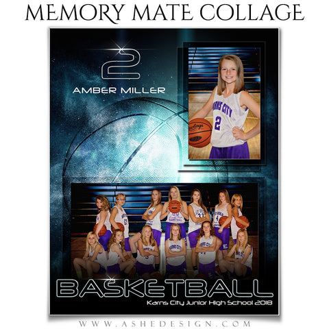 Ashe Design 8x10 Sports Memory Mates -Platinum Burst Basketball VT