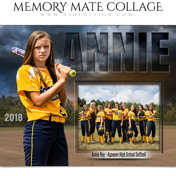 Ashe Design 8x10 Sports Memory Mates - Stormy Lights Softball HZ