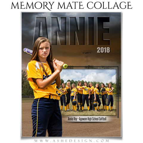 Ashe Design 8x10 Sports Memory Mates - Stormy Lights Softball VT