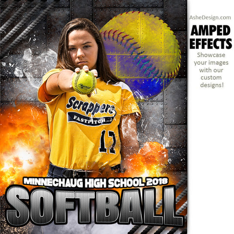 Ashe Design 16x20 Amped Effects Sports Poster - Molten Softball