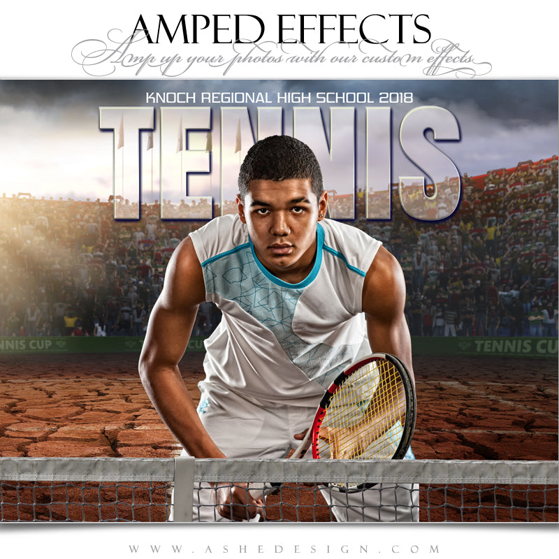 Ashe Design 16x20 Amped Effects Sports Poster - Breaking Ground Tennis