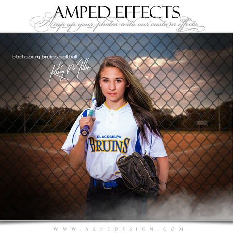 Ashe Design 16x20 Amped Effects Sports Poster - Fenced In Softball
