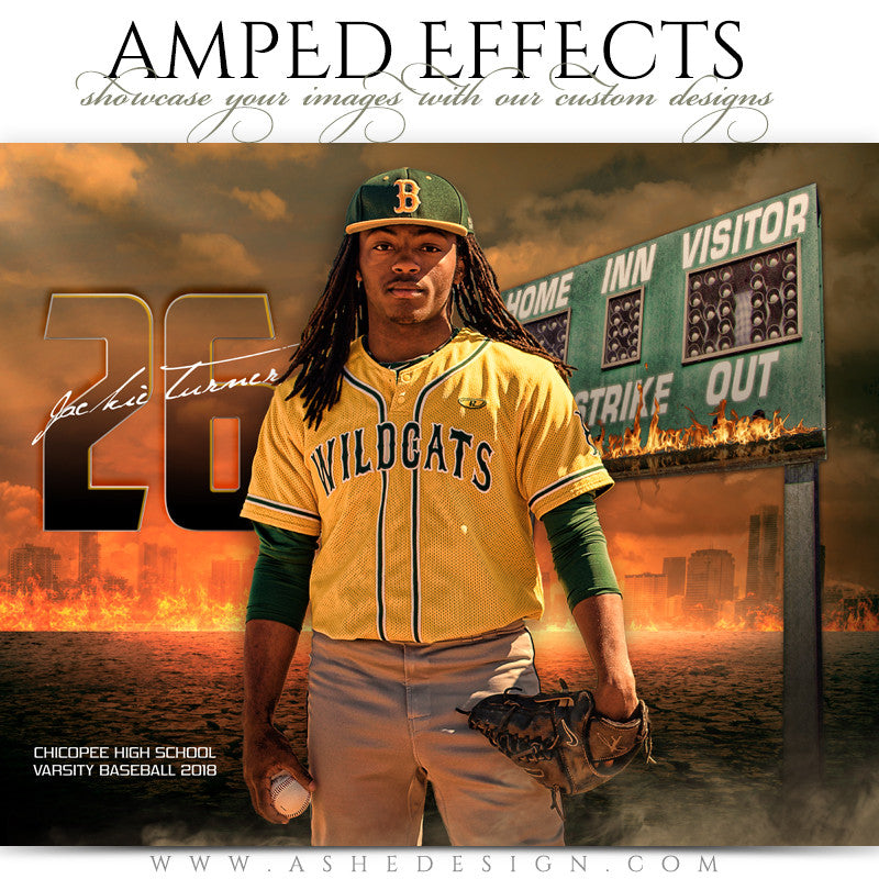 Ashe Design 16x20 Amped Effects Sports Photography Photoshop Templates Inferno Baseball