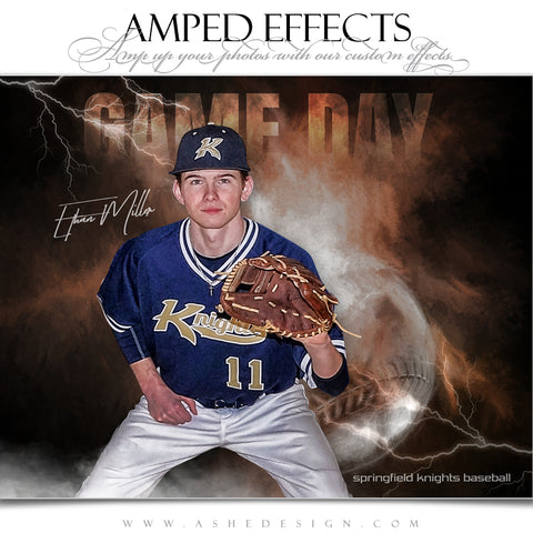 Ashe Design 16x20 Amped Effects Sports Poster - Lightning Storm Baseball