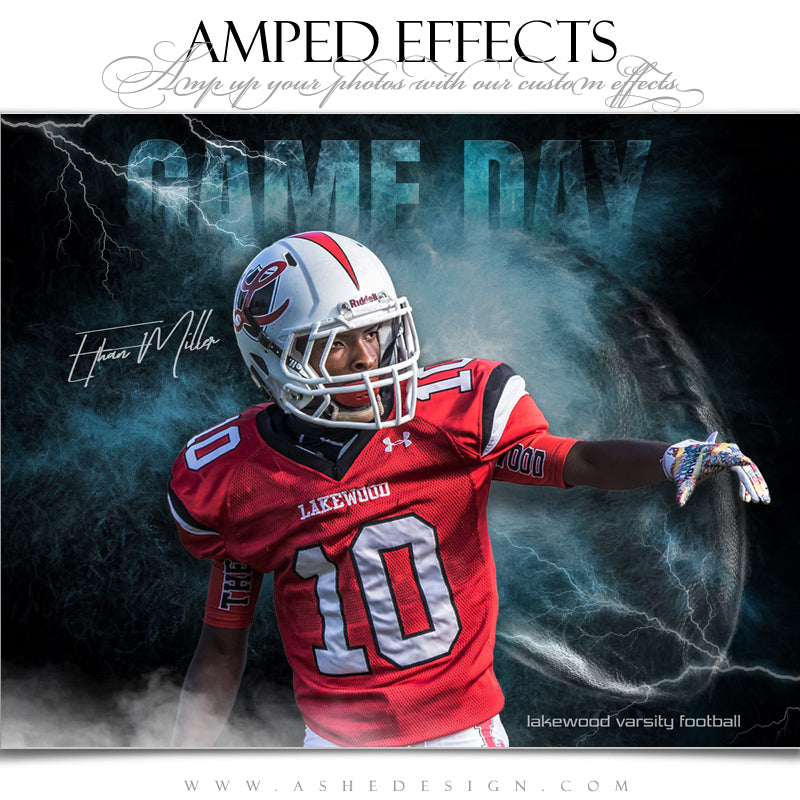 Ashe Design 16x20 Amped Effects Sports Poster - Lightning Storm Footabll