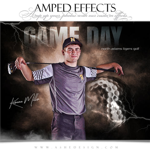 Ashe Design 16x20 Amped Effects Sports Poster - Lightning Storm Golf