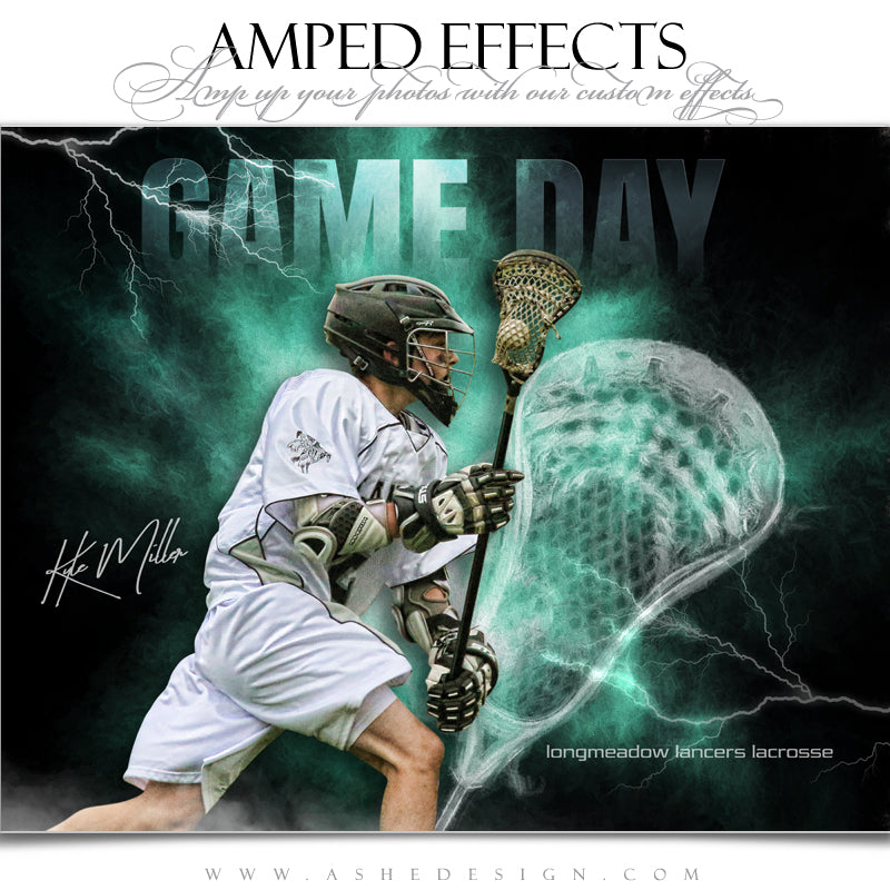 Ashe Design 16x20 Amped Effects Sports Poster - Lightning Storm Lacrosse