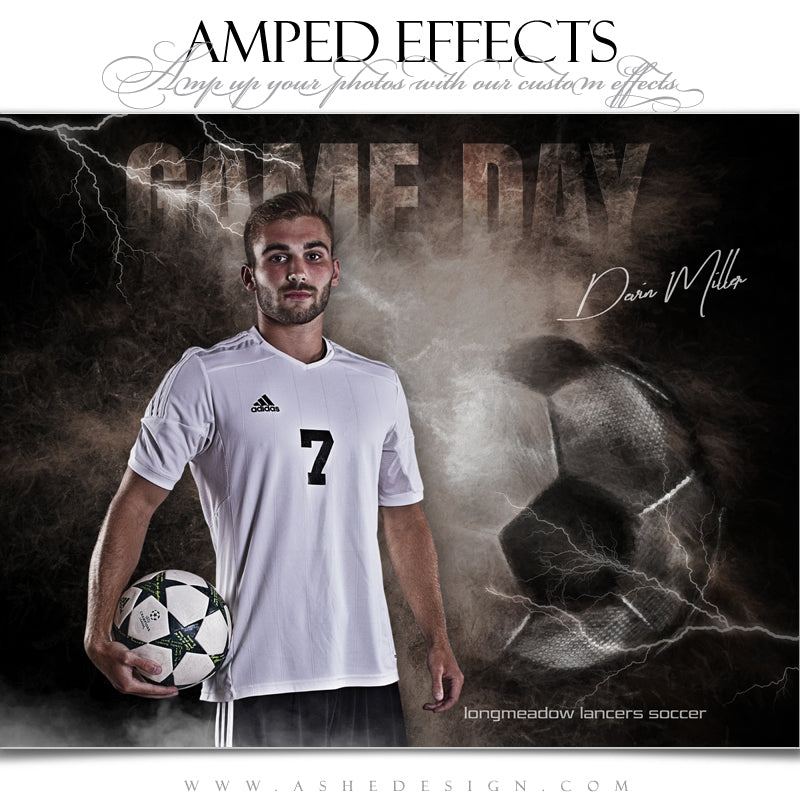Ashe Design 16x20 Amped Effects Sports Poster - Lightning Storm Soccer