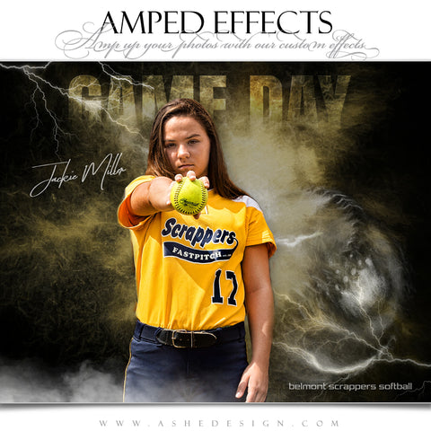 Ashe Design 16x20 Amped Effects Sports Poster - Lightning Storm Softball