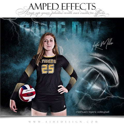 Ashe Design 16x20 Amped Effects Sports Poster - Lightning Storm Volleyball