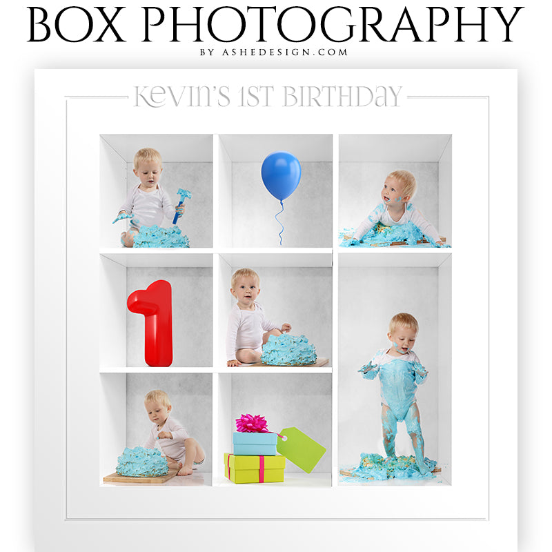 Box Session Photography - First Birthday Collage