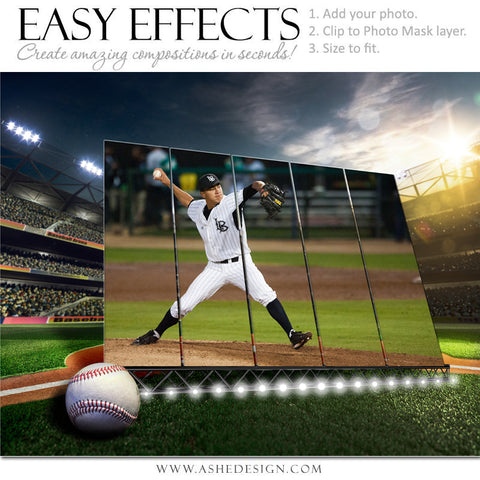 Ashe Design 16x20 Easy Effects Sports Poster - Big Screen - Baseball