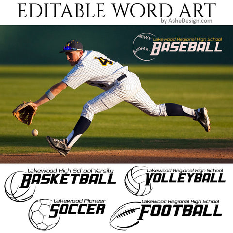 Customizable Word Art Overlays - Sports Balls