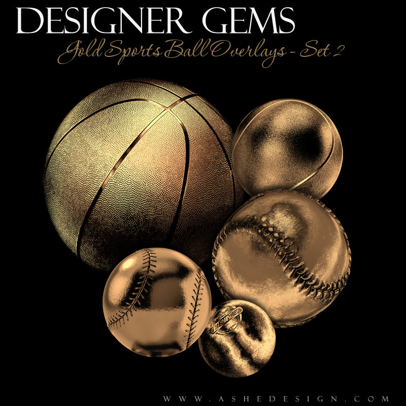 Ashe Design Designer Gems Gold Sports Balls Overlays Set 2