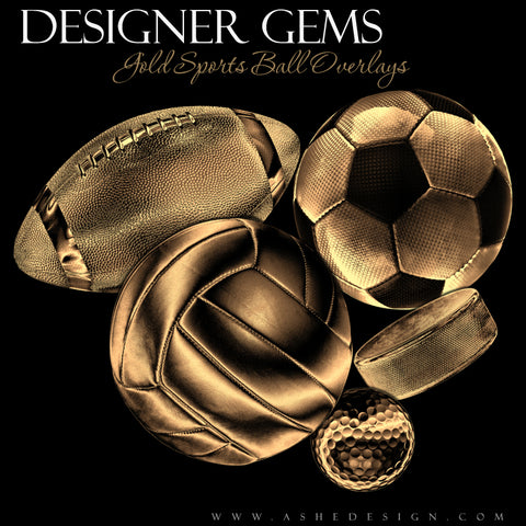 Ashe Design Designer Gems Gold Sports Balls Overlays Set 1