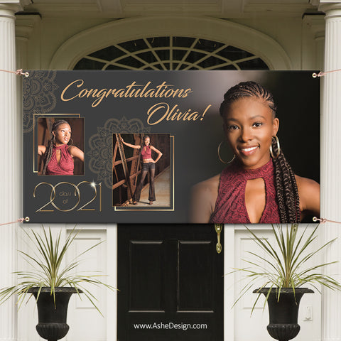 6x3 Graduation Banner - Gold Plated Grad