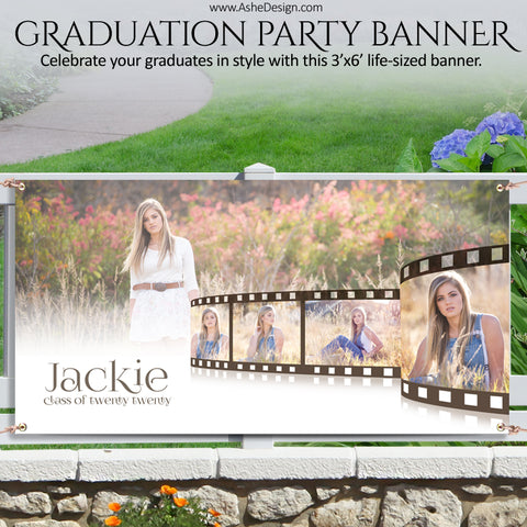 Ashe Design | Photoshop Template | Grad Party Photo Banner | 3'x6' Horizontal | Film Strip