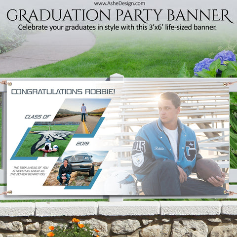 Ashe Design | Photoshop Template | Grad Party Photo Banner | 3'x6' Horizontal | Geometric