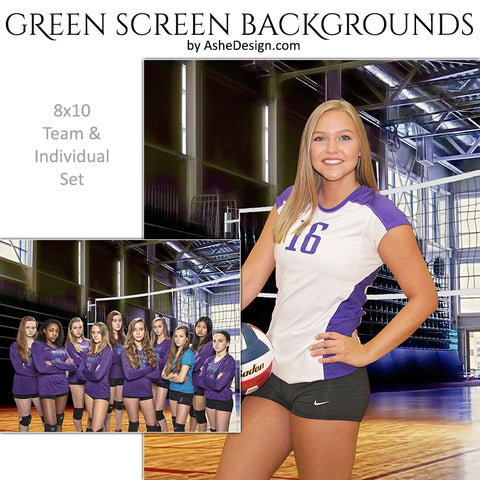 Green Screen Backgrounds - Gym Volleyball