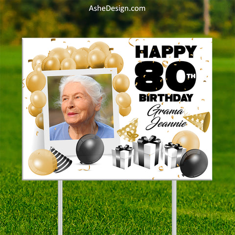 Lawn Sign 18x24 - 80th Balloon Photo Birthday