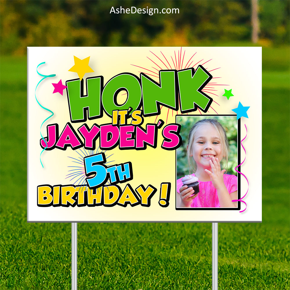 Lawn Sign 18x24 - Honk Photo Birthday