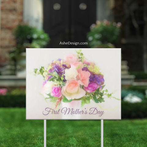 Lawn Sign 18x24 - Lawn Bouquet - Pastel Roses