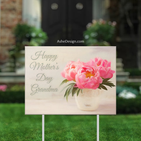 Lawn Sign 18x24 - Lawn Bouquet - Pink Peonies