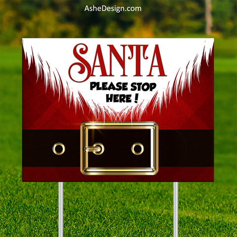 Lawn Sign 18x24 - Santa Stop Here